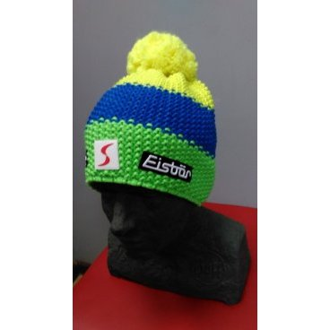 Горнолыжная шапка Eisbear Star Neon Pompon MÜ SP, lime/light blue/yellow (16/17 г, арт. 403336-926)