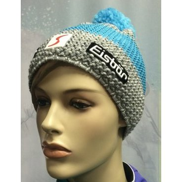 Горнолыжная шапка Eisbear Styler Pompon MÜ SP, light gr/light blue (16/17 г, арт. 33014-731)