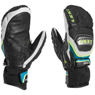 Варежки  Leki  WORLDCUP RACE TITANIUM S MITT black-white-cyan-yellow (15г. р-р 9,  63 480 193)