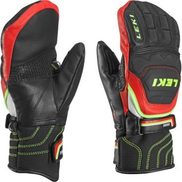 Варежки Leki  WORLDCUP RACE FLEX S JUNIOR MITT black-red-white-yellow (15г. р-р 4, 63 480 051)