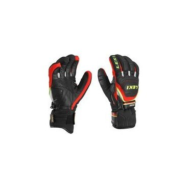 Перчатки  Leki  WORLDCUP RACE COACH FLEX S GTX black-red-white-yellow(15г. р-р9,5 арт.63 480 123)