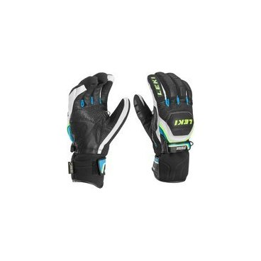 Перчатки  Leki  WORLDCUP RACE COACH FLEX S GTX black-white-cyan-yellow(15г. р-р9,5 арт.63 480 133)