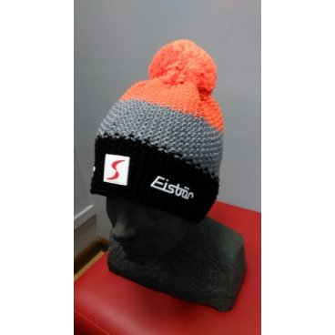 Горнолыжная шапка Eisbear Star Neon Pompon MÜ SP, dark grey/grey/orange (16/17 г, арт. 403336-509)