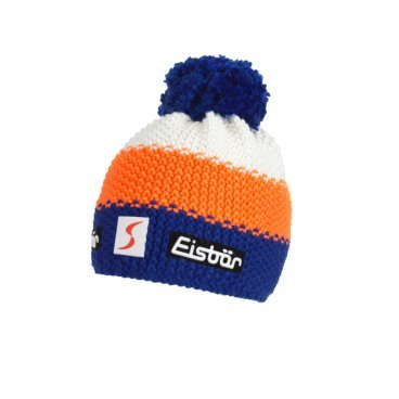 Шапка Eisbear Star Neon Pom MÜ SP kids blitzblau/lightorange/white,  (17/18, 407163-591)