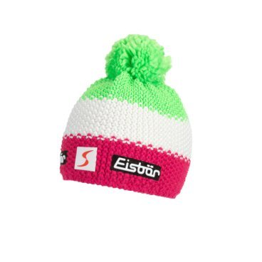 Шапка Eisbear Star Neon Pompon MÜ SP pittipink/white/lightgreen,  (17/18, 403336-942)